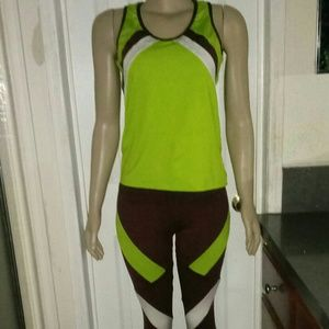 Kathyana Neon Green,Brown and White Work Out Set